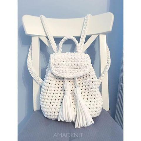 230afd909 Bolsa, croche, saco, Mochila, branca, com franjas | Coisas para ...