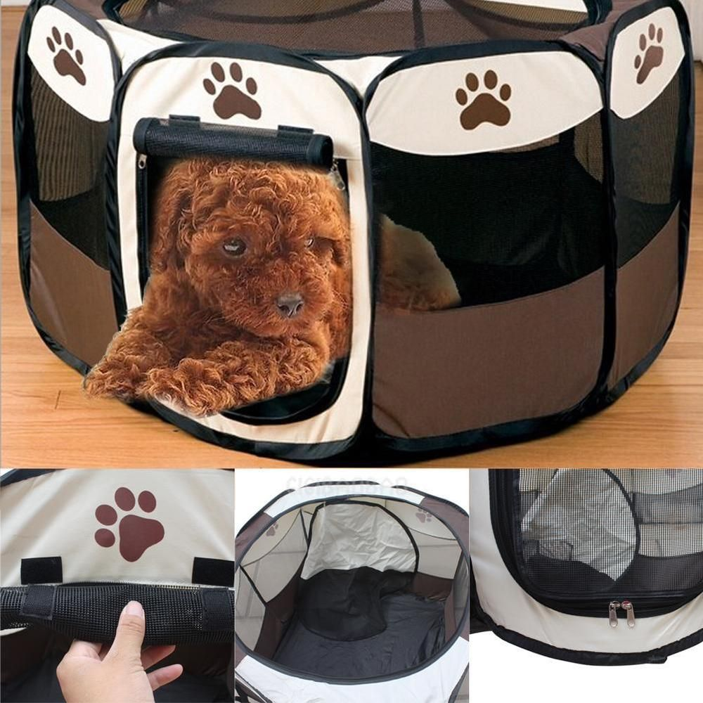 Portable New Small Pet Dog Cat Tent Playpen Exercise Play Pen Soft Crate Black & Portable New Small Pet Dog Cat Tent Playpen Exercise Play Pen Soft ...