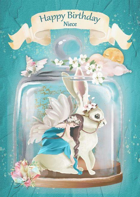 Happy Birthday to Niece Fairy Rabbit Fantasy in Jar card
