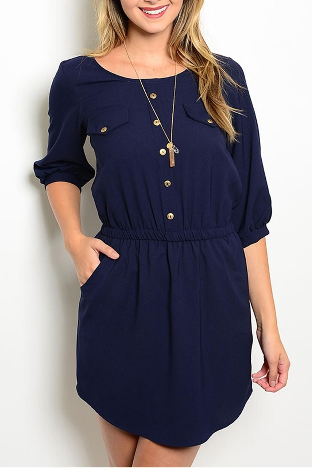 Woven dress features a rounded neckline, 3/4 sleeves and chest pocket detail. Flattering gathered waist and hidden pocket accent.   Navy Pockets Dress by Lila. Clothing - Dresses - Casual Clothing - Dresses - Long Sleeve Clothing - Dresses - Work New Jersey