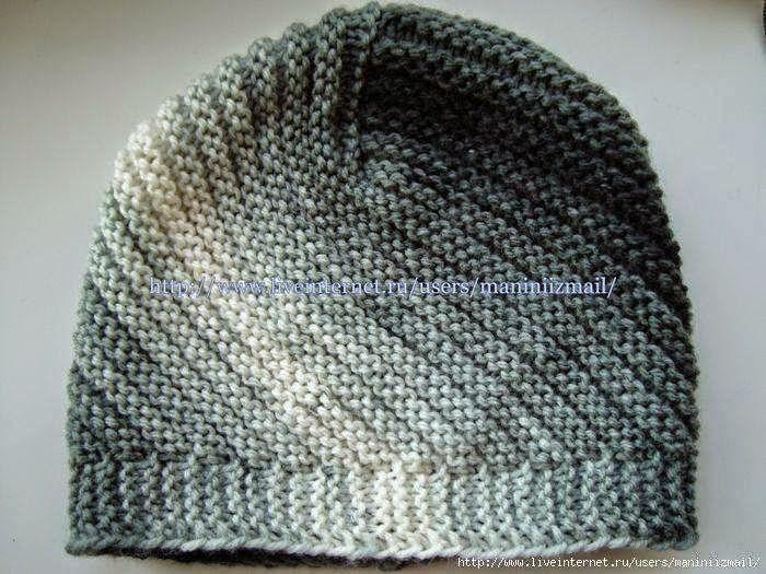 Crochet y dos agujas: Gorro tejido con dos agujas punto santa Clara ...