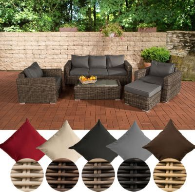 Poly-Rattan Lounge Set MADEIRA 3-1-1, 3er Sofa + 2 Sessel + Hocker - lounge tisch garten