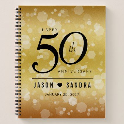Elegant 50th Golden Wedding Anniversary Notebook