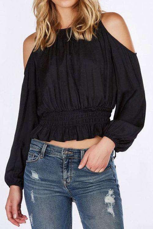 89876fbca0bd3 Fashion Black Cold Shoulder Long Sleeves Thic Blouse - US 15.95 -YOINS