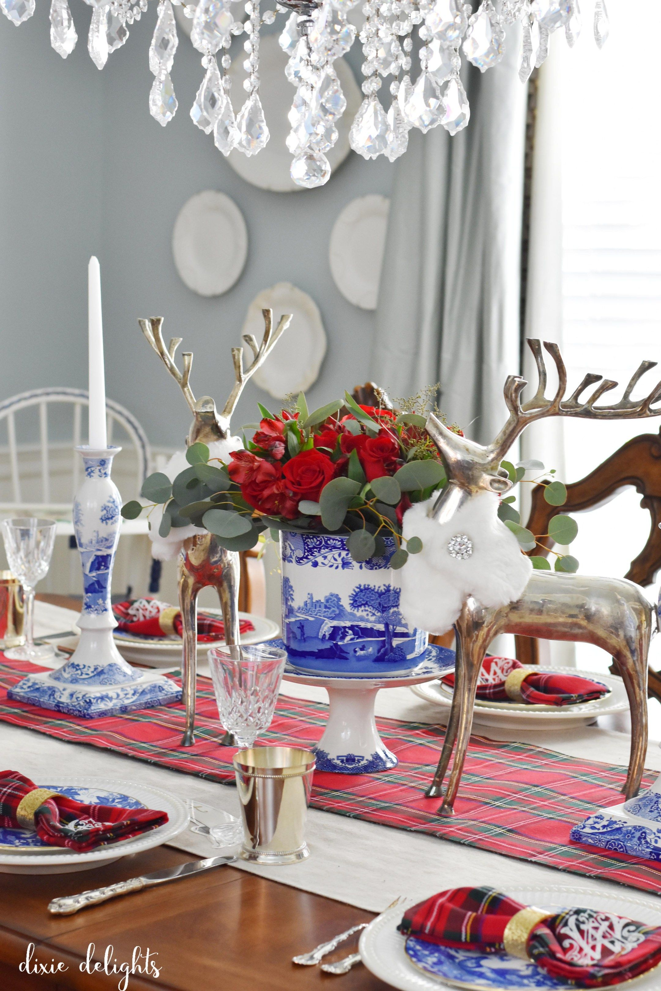 beautiful red white blue christmas table & Deck the Halls 2016 Holiday Home Tour | Blue christmas Red white ...