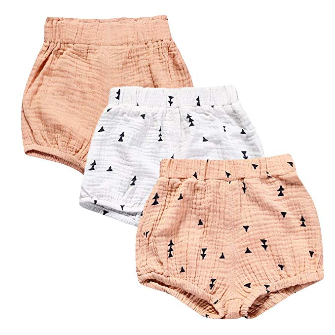 Mary ye Baby Girls Boys Cotton Linen Blend Cute Bloomer Shorts