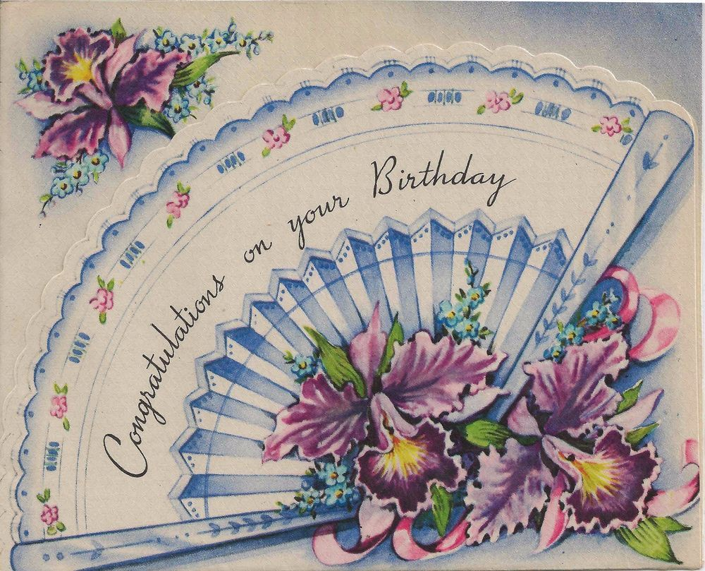 Vintage birthday card with lovely die cut fan and purple and vintage birthday card with lovely die cut fan and purple and yellow iris flowers kristyandbryce Gallery