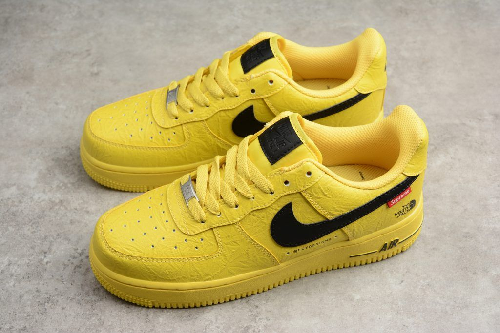 b87838f03ca6 2018 Supreme x The North Face x Nike Air Force 1  07 Yellow Black Shoes-5