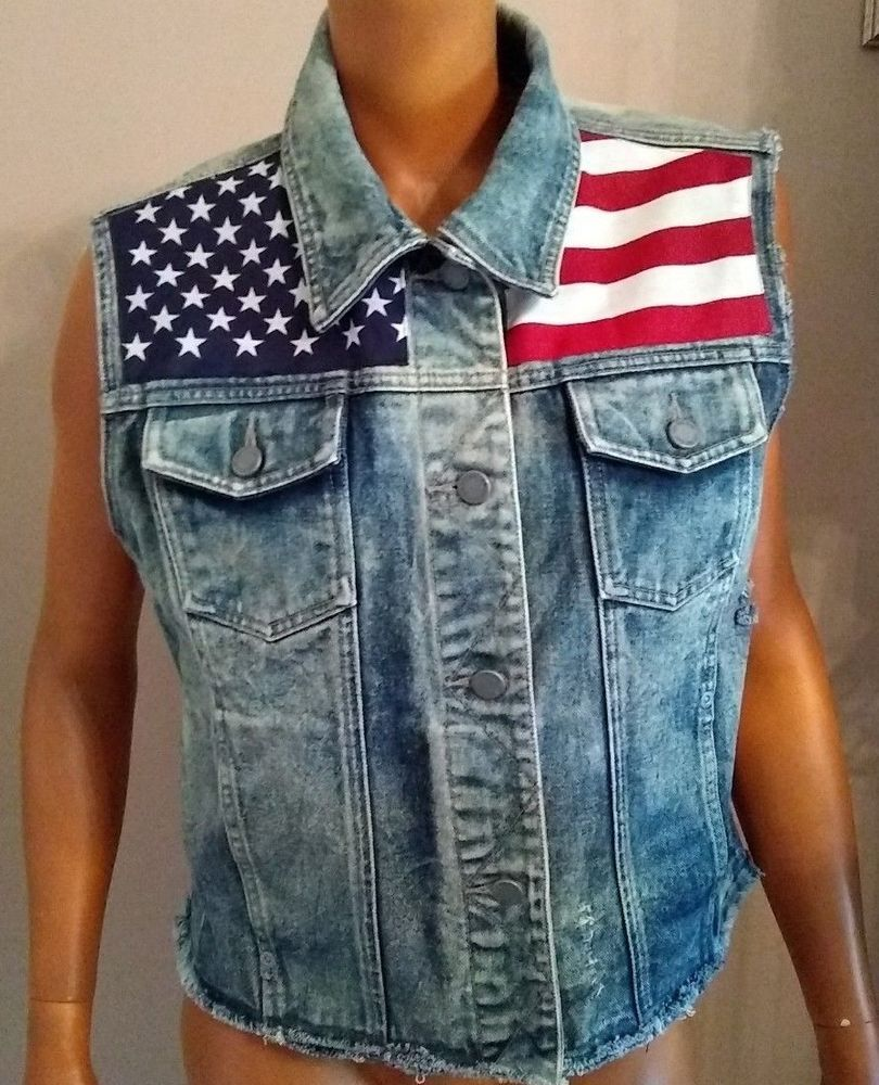 Custom Vtg Denim Jean Vest Rework Usa Flag American Stars Stripes Sz L Trucker Nyjeans Vest Casual Vintage Denim Vest Womens Denim Vest Denim Country [ 1000 x 810 Pixel ]
