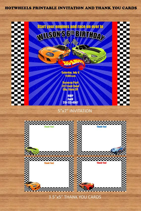 Cars Invitation Card Template Free: Race Cars Printable Invitation And Thank You Cards