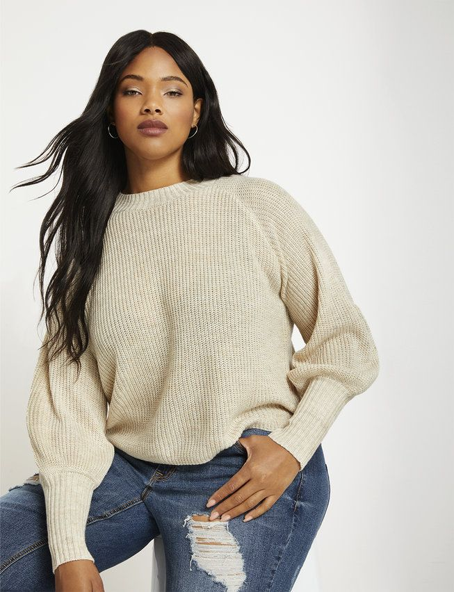 Puff Sleeve Sweater | Women's Plus Size Tops | ELOQUII 1