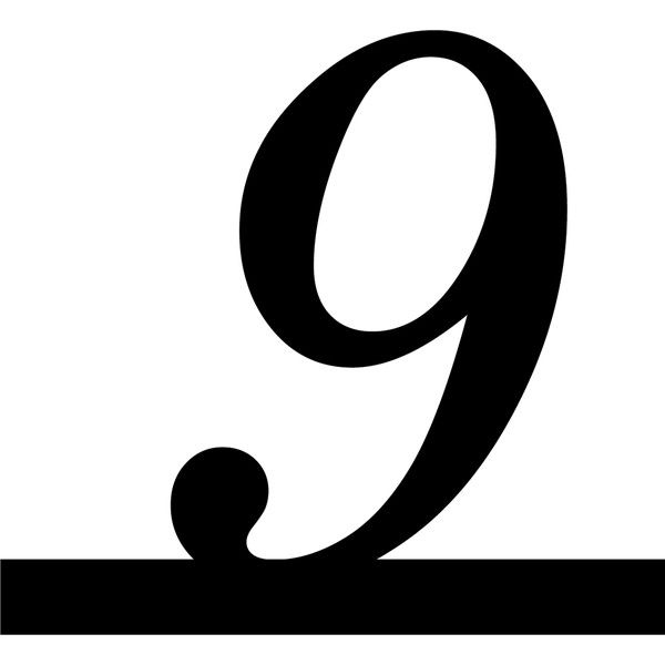 Number 9 Italic Underline Liked On Polyvore Featuring Numbers