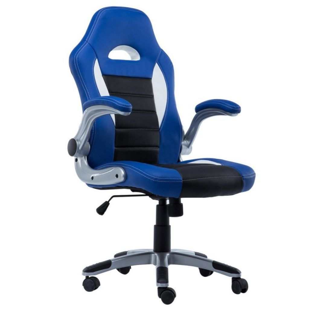 Awesome Royal Blue Vinyl Computer Game Desk Chair With Adjustable Arms And  Caster Wheels With Chairs