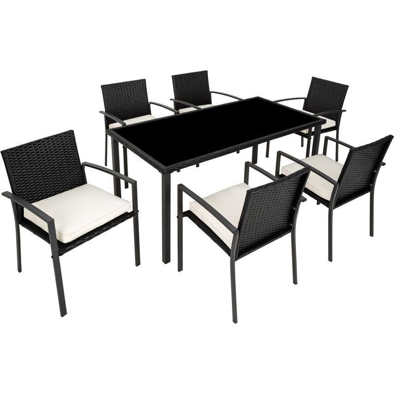 Salon de Jardin 6 Chaises et 1 Table en Résine Tressée ...