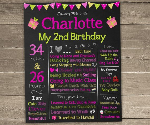2nd Birthday Chalkboard Sign For Second By ChalkyPrints