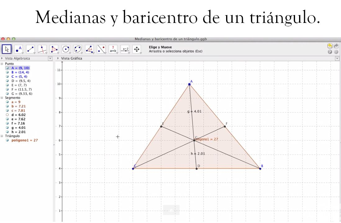 Las medianas de un triángulo son las rectas que unen cada vértice con el punto medio del lado opuesto, y el baricentro (G) (también llamado centroide) es el centro de gravedad del triángulo que coincide con el punto de intersección de sus medianas. Para hallar el baricentro primero hay que calcular las coordenadas de las medianas , para ello utilizaremos la siguiente fórmula:  PMxy=  x=(x1+x2)/2 ; y=(y1+y2)/2. Tras conocer los datos correspondientes a las tres medianas: a(x1,y1),b(x2,y2) y…