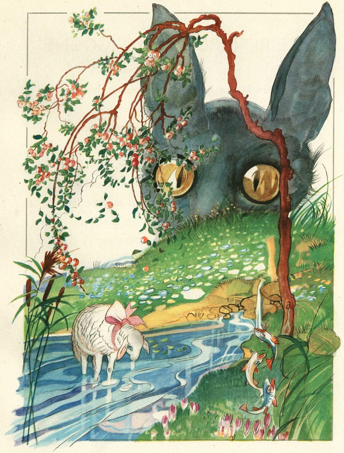 Felix lorioux le loup et l 39 agneau illustration pour la - Dessin loup et agneau ...