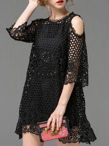 Vestido manga con abertura cuentas -negro