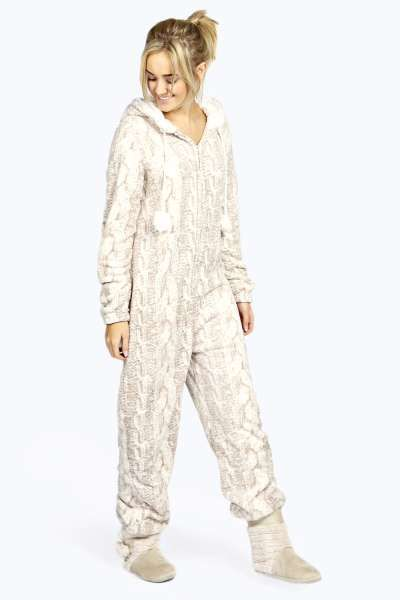 e0aae9f740 Milly Luxe Cable Faux Fur Lined Pom Pom Trim Onesie at boohoo.com ...