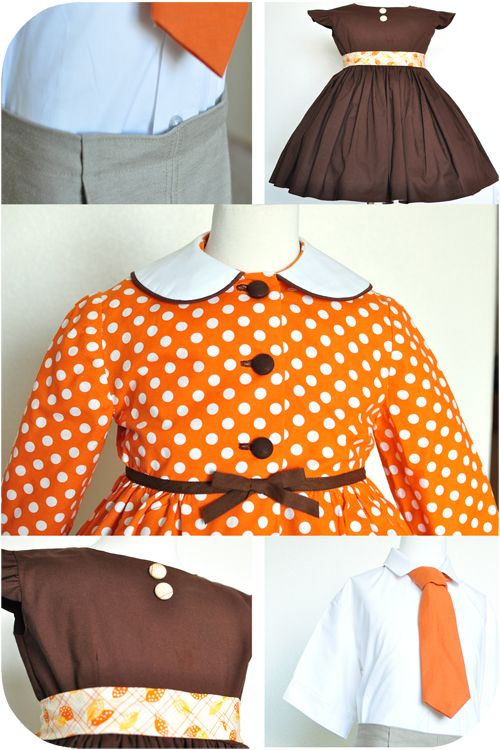 Love orange and brown for fall - especially the polka-dots and tie!