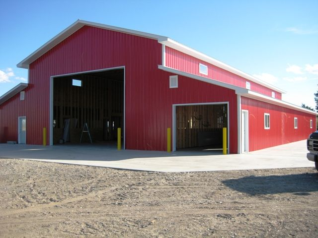 Shop for tractor trailer operation with wash bay and for Garage barns with living quarters