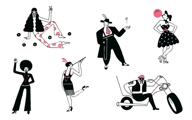 Line Art Illustration Style : Style through the decades. spots for issue. art director