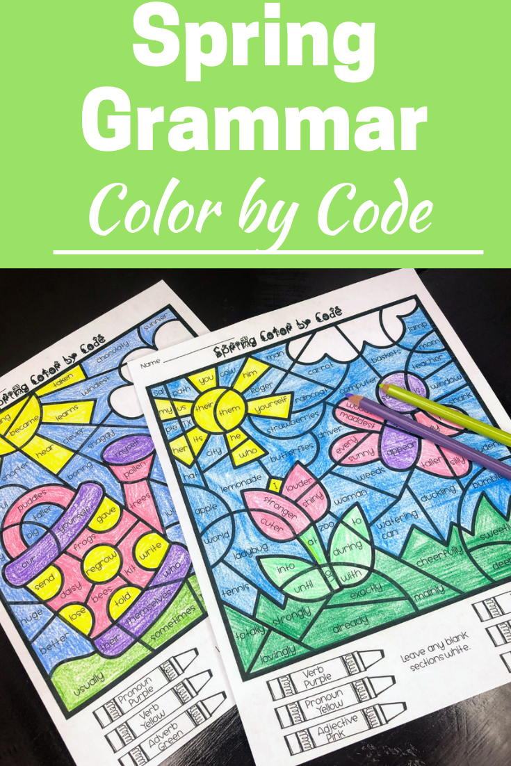 Spring Grammar Coloring Pages Parts of Speech | Parts of ...