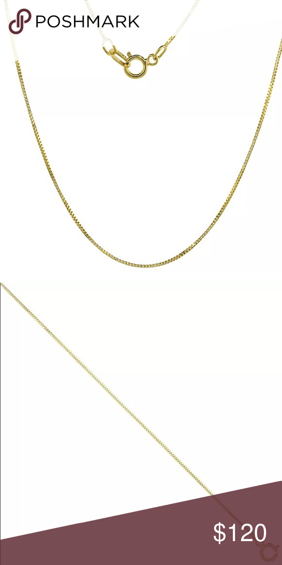 Solid Gold Box Chain 20 Women Men Gold Necklace Gold Necklace Box Chain Necklace