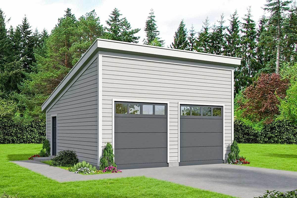 Plan 68555vr Modern 2 Car Lift Friendly Detached Garage Plan In 2021 Garage Plans Building A Garage Garage Plan