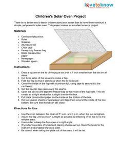 Children S Solar Oven Project Summer Science Solar Oven Science Projects