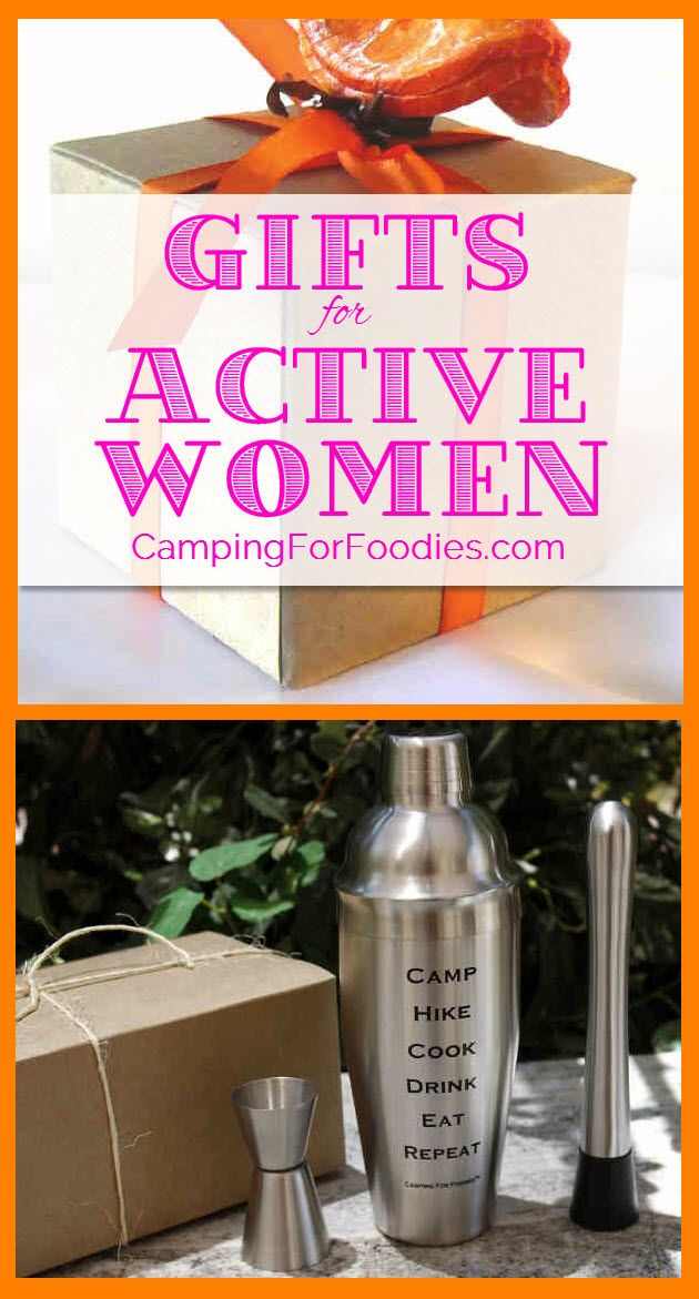 5 Piece Tail Shaker Gift Set Displaying The Message Camp Hike Cook Drink Eat Repeat Made Our Roundup List Of Gifts For Active Women