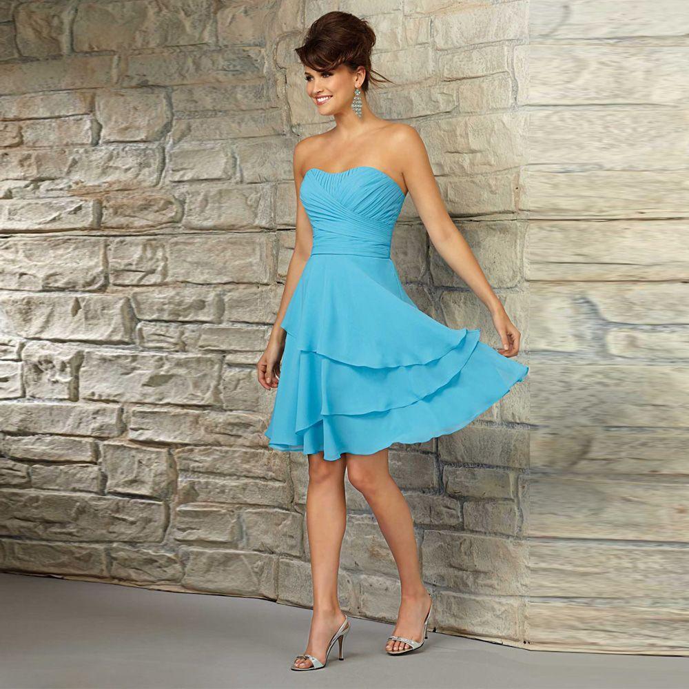 Cheap Blue Pleated Tiered Chiffon Short Junior Bridesmaid Dresses ...