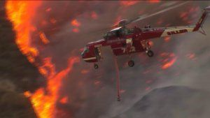 About 18,000 acres have burned in the Blue Cut Fire in the Cajon Pass on Aug. 16, 2016. (Credit: KTLA) #16Aug16 #BlueCutFire in the #SBNationalForest in #SanBernardinoCo #California