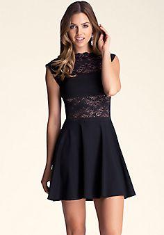 Lace Panel Midriff Dress