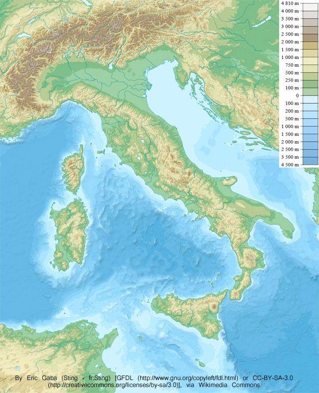Mapa De Italia Fisico.Mapa Fisico De Italia Credito Wikipedia Mapa De Italia