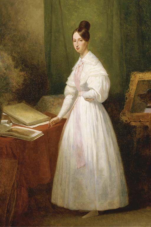 Portrait De La Princesse Marie D Orleans Devant Ses Carnets De