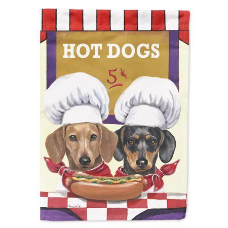 Dachshund Hot Dog Stand Garden Flag, Multicolor Ar