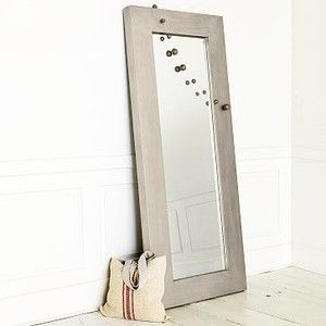 Chunky Wood Floor Mirror, Silver | west elm - Polyvore | Decor ...