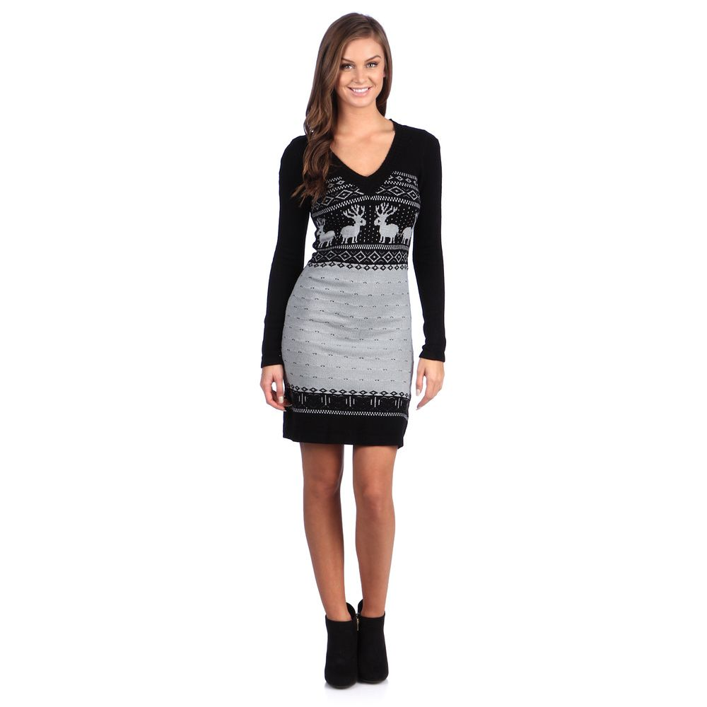 White mark womenus ubostonu black grey sweater dress overstock
