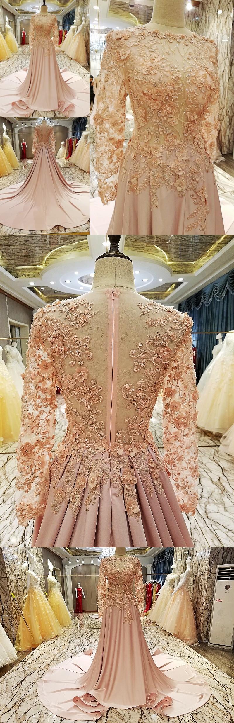 pink prom dress brush train long sleeve lace popular prom dress