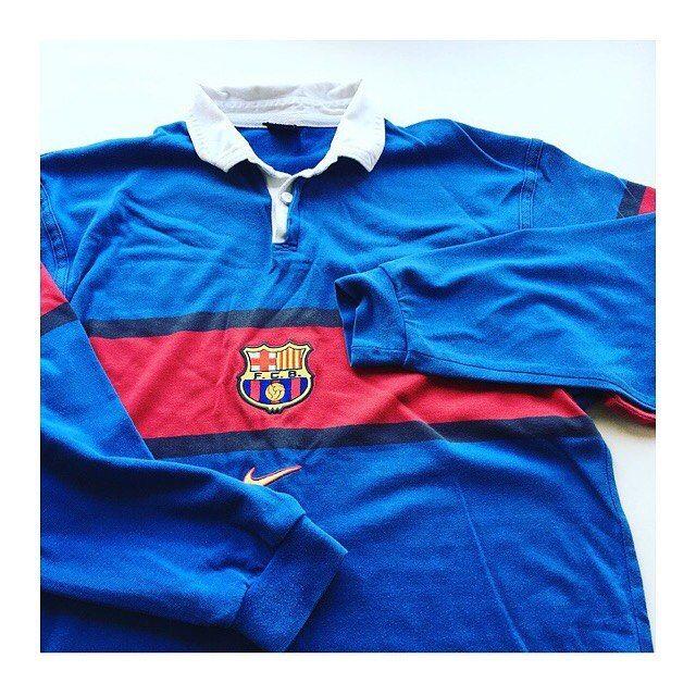 Vintage Nike Barcelona Long Sleeved Rugby Shirt Link In Bio Barcelona Barca Noucamp Camp Retro Football Shirts Vintage Football Shirts Rugby Vintage