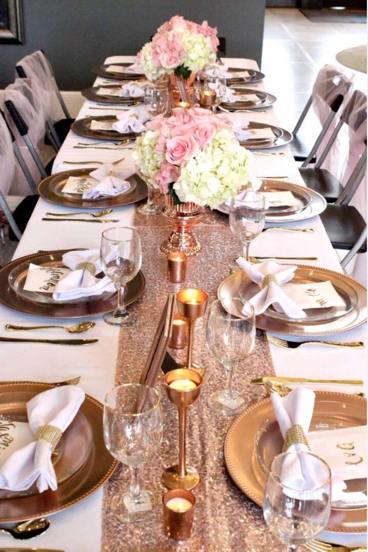 Rose Gold Table Decor Rose Gold Table Rose Gold Table Decor Gold Table