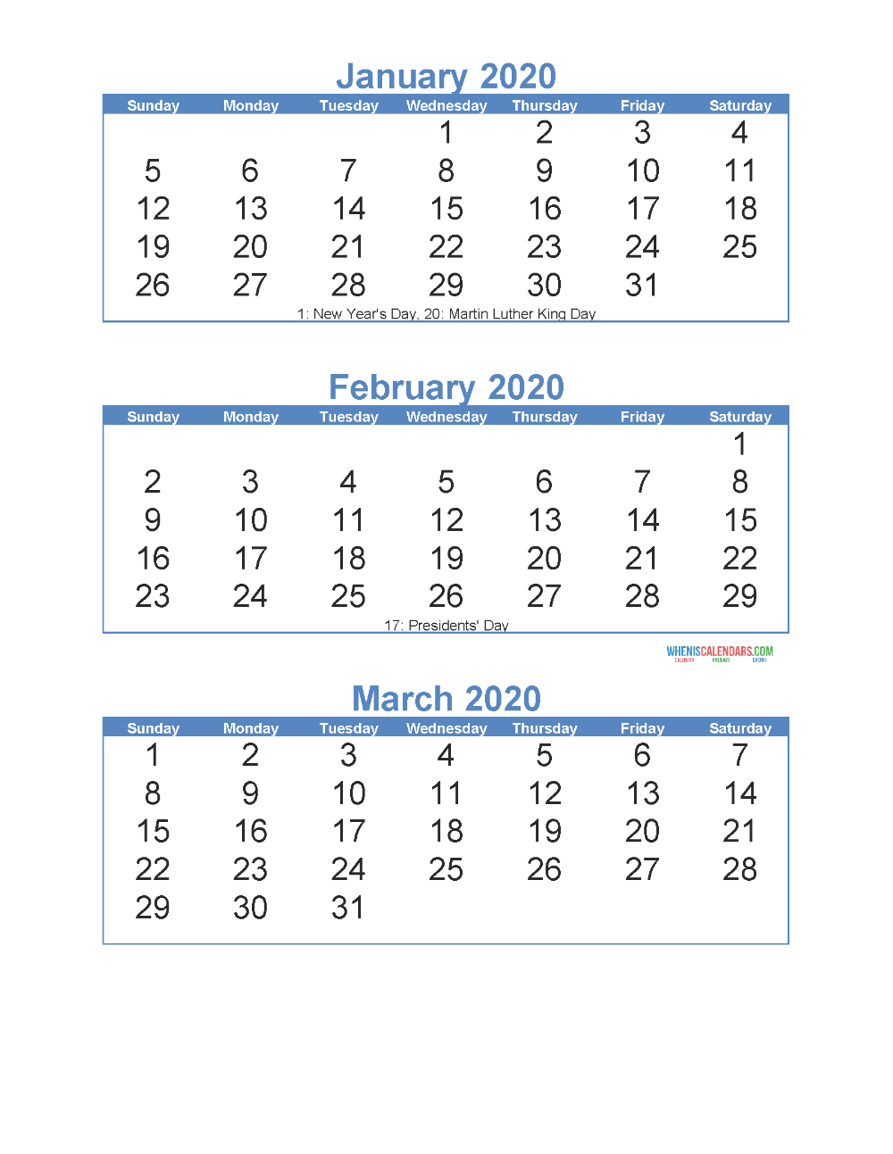 Free Printable 3 Month Calendar 2020 January February March Free Printable 2020 Calendar Templates 3 Month Calendar Calendar Printables Calendar Template