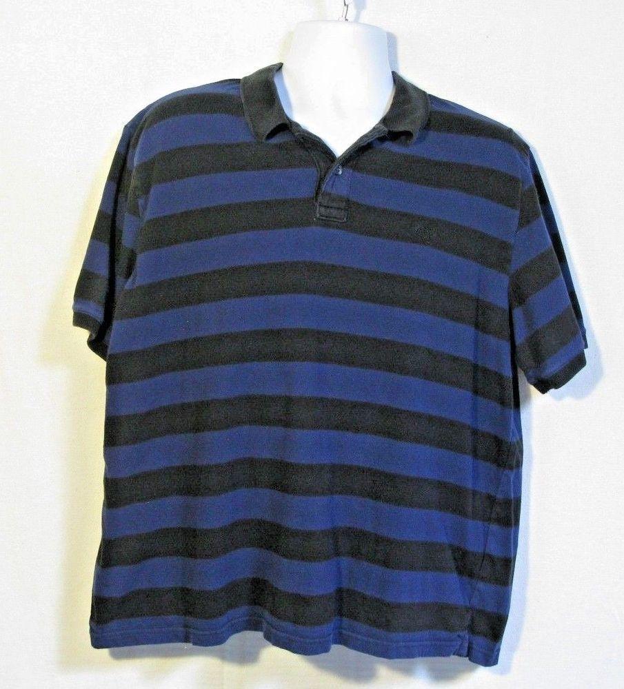 Op Mens Xl 46 48 Blue Stripe Polo Shirt Cotton Short Sleeve Mixed
