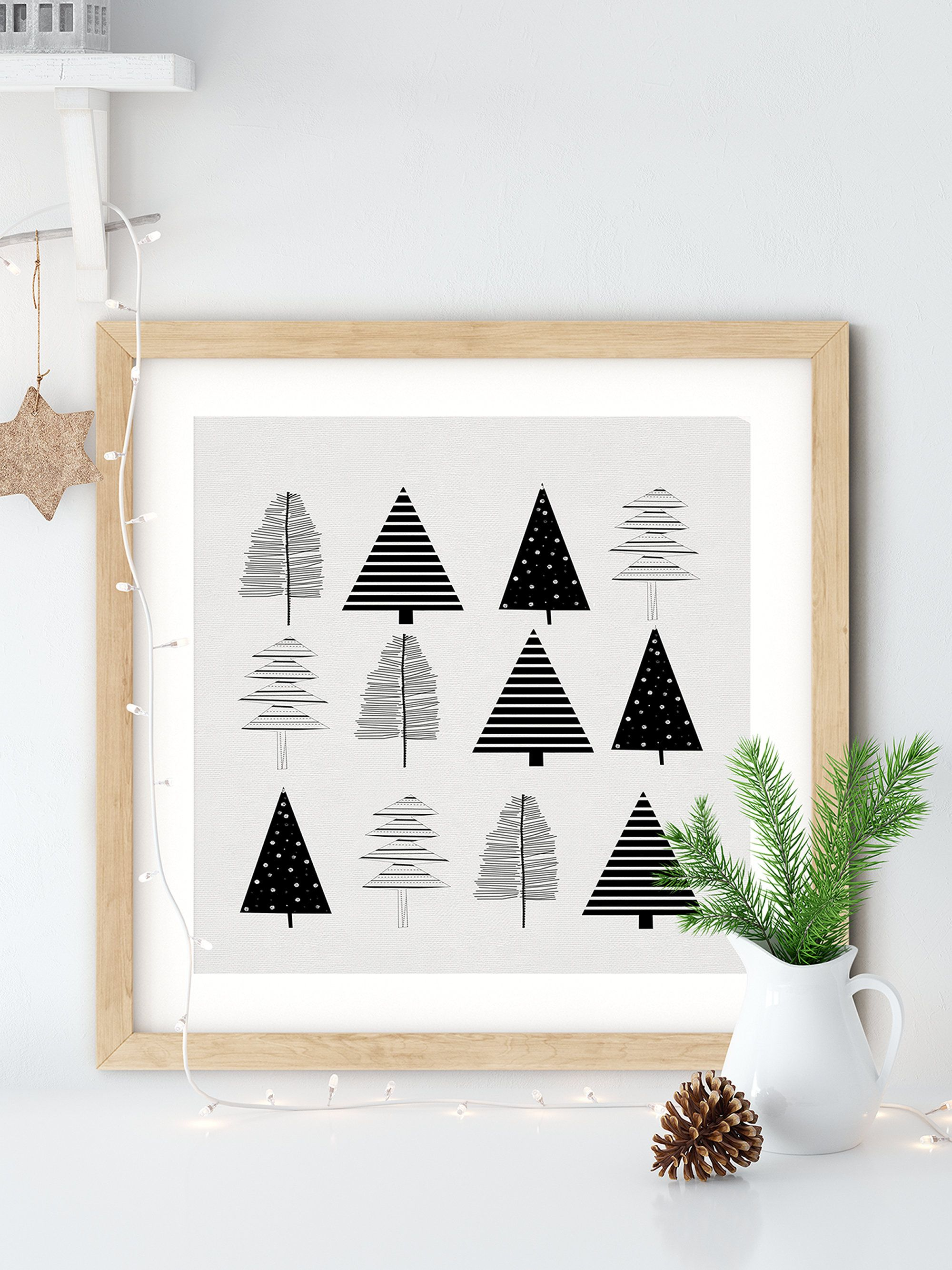 Scandi Style Holiday Printable Art In Black And White Modern Etsy In 2020 Minimalist Christmas Decor Modern Christmas Decor Minimalist Christmas