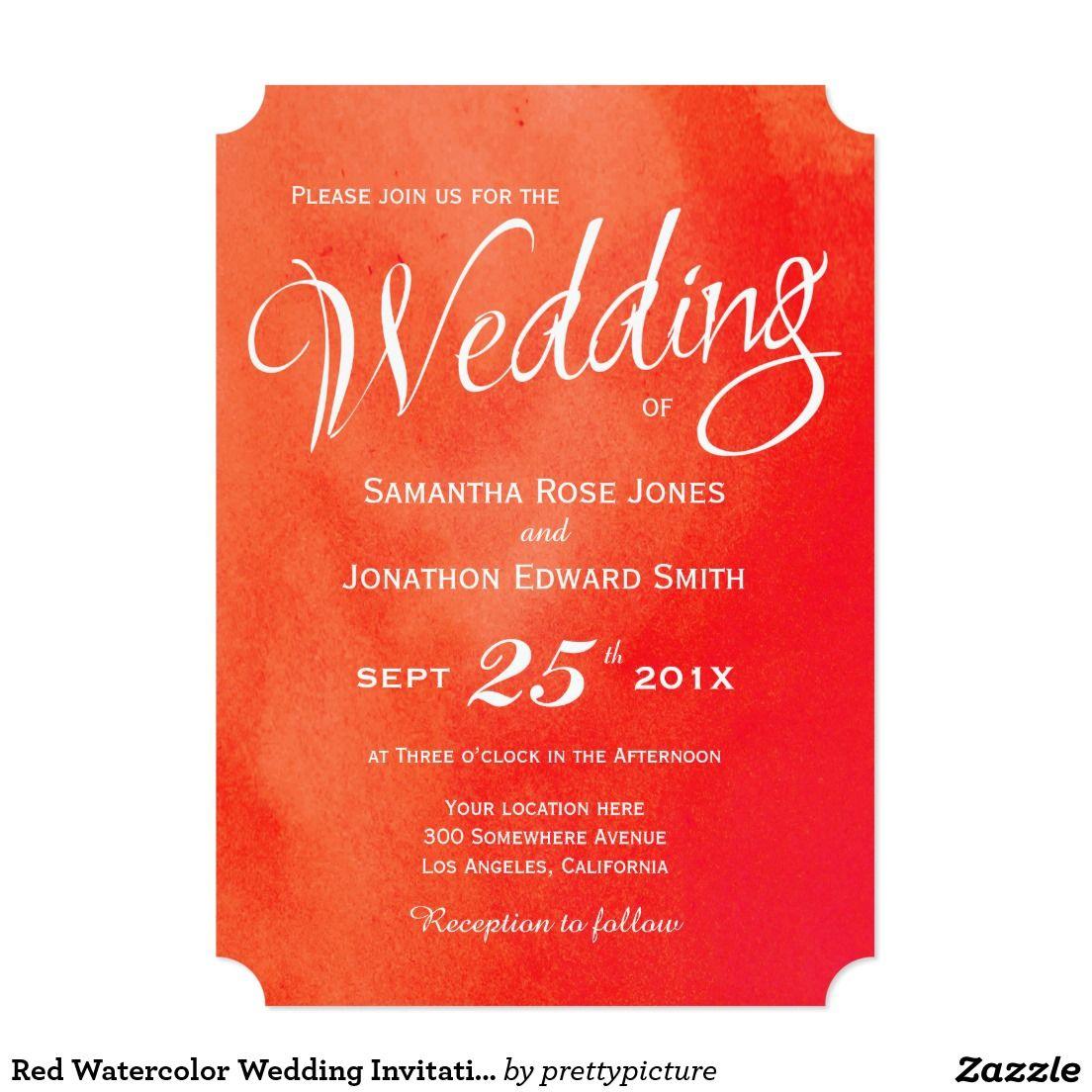 Red Watercolor Wedding Invitation | Perfect Weddings | Pinterest ...