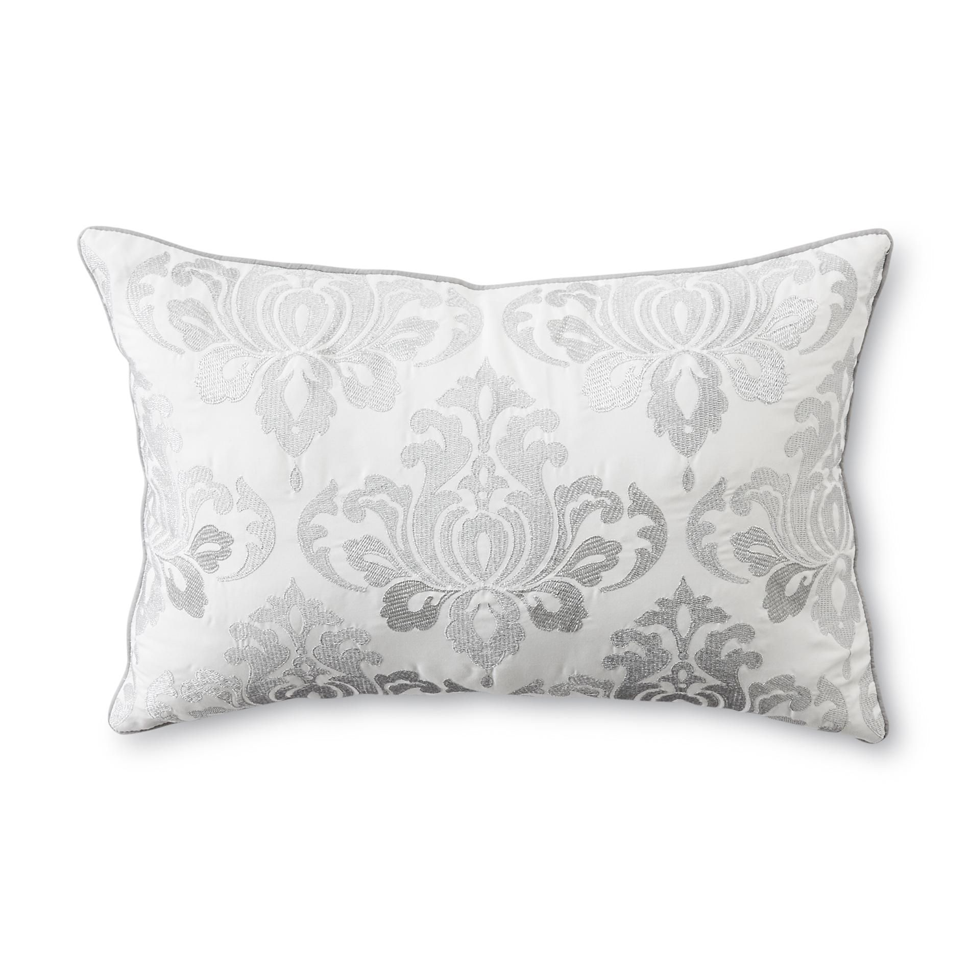 Idea Nuova,Floral Decorative Pillow, White