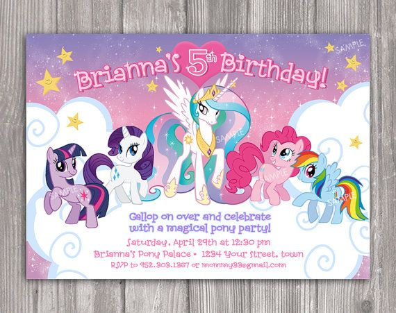 My Little Pony Invitation For Birthday Party Diy Print Your Own Invite Printa My Little Pony Invitations Little Pony Birthday Party My Little Pony Birthday