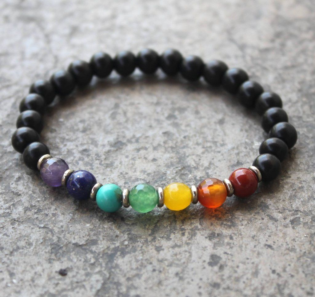 Ebony and multitone gemstone chakra mala bracelet with African trade beads – Lovepray jewelry