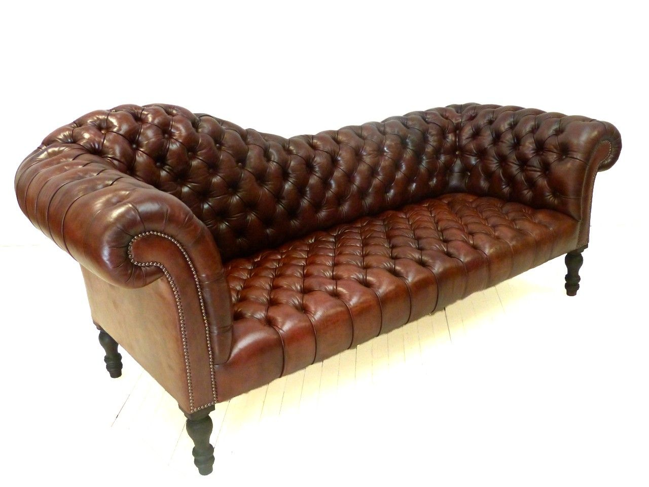Keeler Chesterfield Sofa Hand Dyed Rich Chestnut Brown Leather